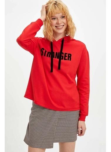 DeFacto Yazı Baskılı Kapüşonlu Sweatshirt Kırmızı